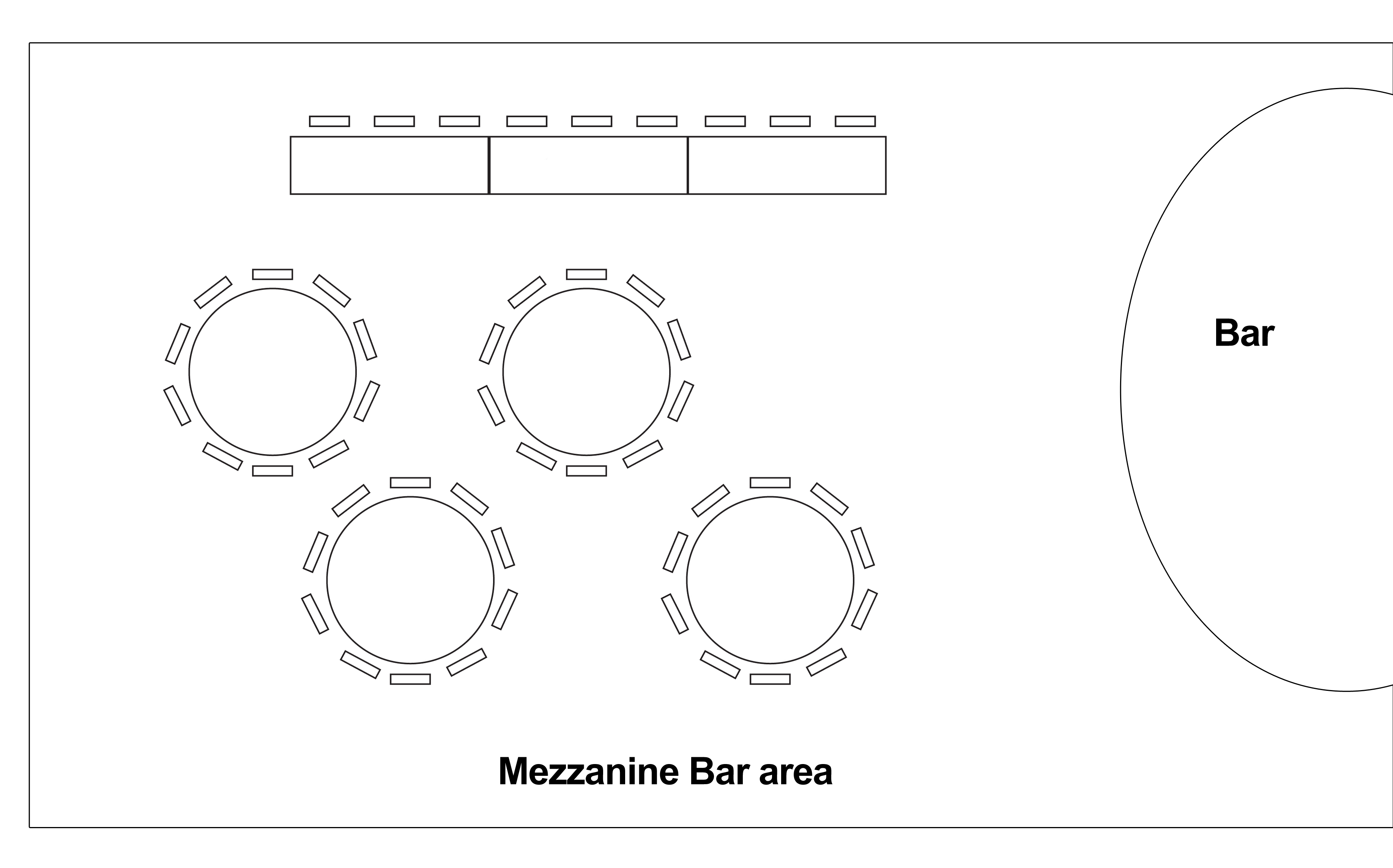 Rutherglen Town Hall Mezzanine Bar area wedding table layout.